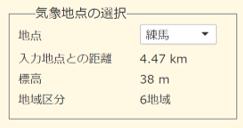 e-cocochiホームデザイナー:建設地の住所を入力すると、近い3地点分の気象データを自動選定します