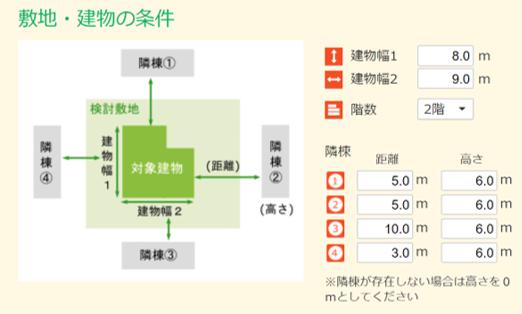 e-cocochiホームデザイナー:ご近所の建て込み具合を反映して室温や燃費を計算します