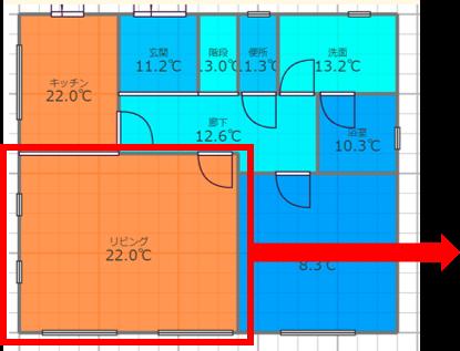 e-cocochiホームデザイナー:室間温度分布が一目瞭然です