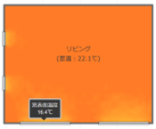e-cocochiホームデザイナー:リビング内の体感温度分布が表示できます